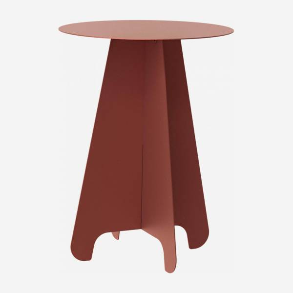 Table d'appoint ronde en métal - Rouge