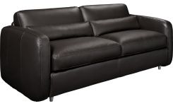 3-seater leather sofa-bed