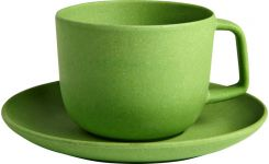 Green recycled bamboo cup and saucer