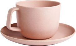 Pink recycled bamboo cup and saucer