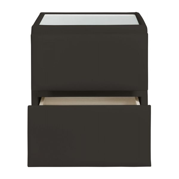 amazon chevet en simili cuir brun fonc habitat. Black Bedroom Furniture Sets. Home Design Ideas