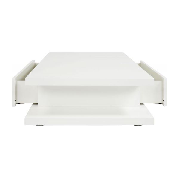 Genna table basse avec 2 tiroirs en blanc laqu habitat for Table basse lack blanche