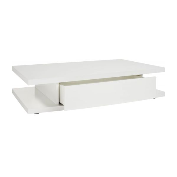 genna table basse avec 2 tiroirs en blanc laqu habitat. Black Bedroom Furniture Sets. Home Design Ideas