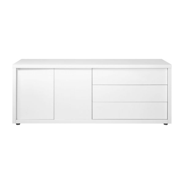 genna buffet bas 2 portes avec 3 tiroirs blanc laqu habitat. Black Bedroom Furniture Sets. Home Design Ideas