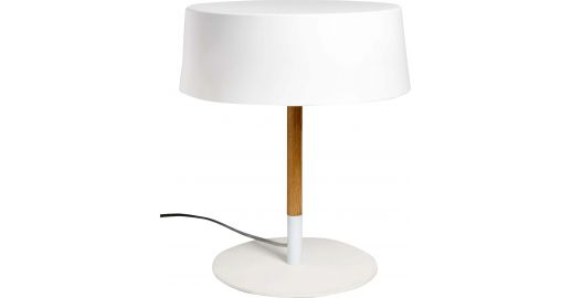 pendry lampe de table 30cm en acier laqu blanc et pied en ch ne habitat. Black Bedroom Furniture Sets. Home Design Ideas