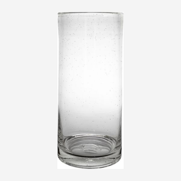 Large glass vase.