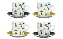 Set of 4 coffee cups and saucers