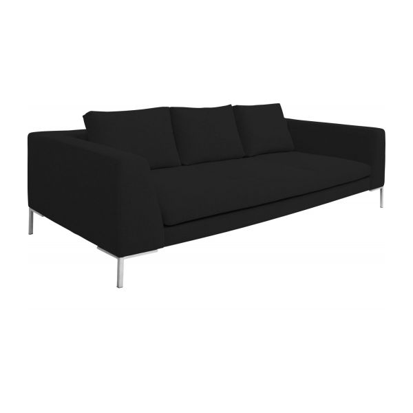 3 Seater Sofa In Ancio Fabric Nero N 1