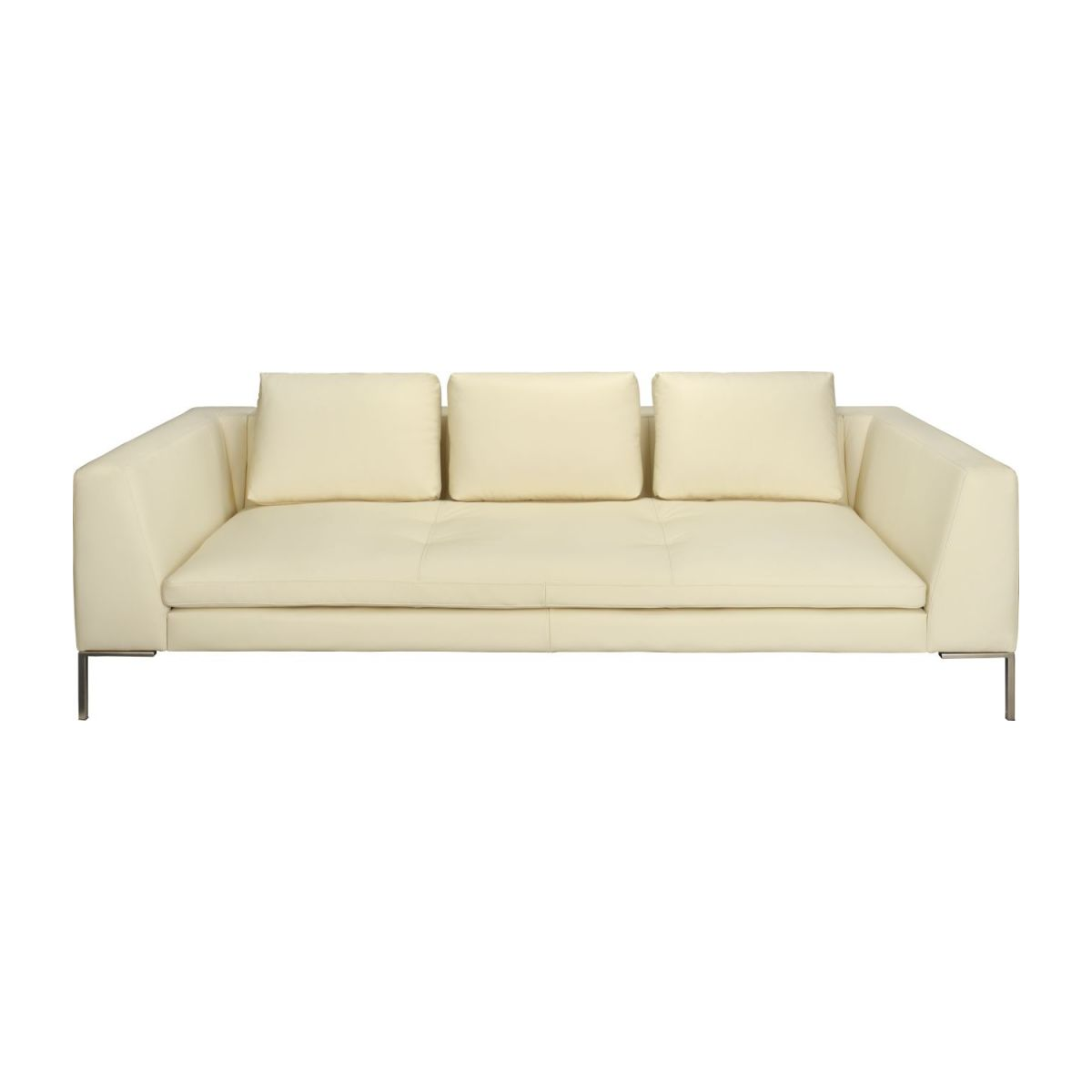 3 seater sofa in Eton veined leather, cream n°2