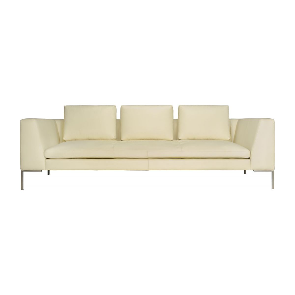 3 seater sofa in Eton veined leather, cream n°3