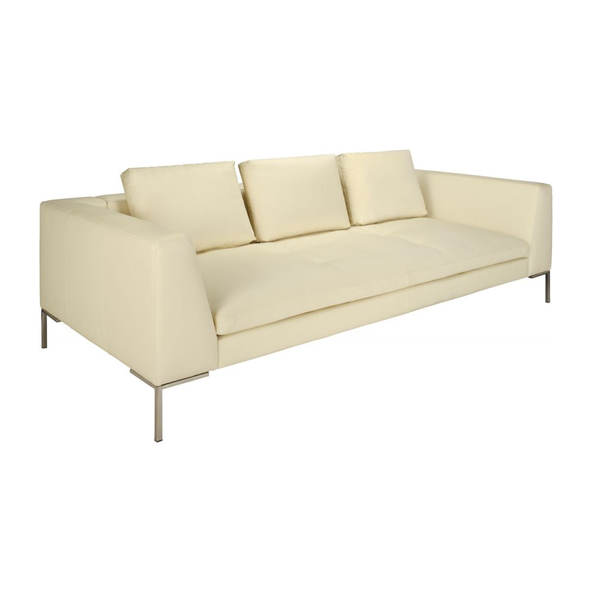 3 seater sofa in Eton veined leather, cream n°1