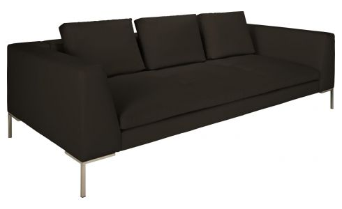 3 seater sofa in Eton veined leather, brown