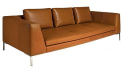 3 seater sofa in Vintage aniline leather, old chestnut