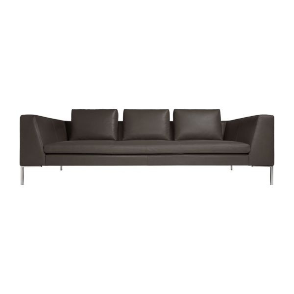 3 Seater Sofa In Pullman Aniline Leather, Stone N°2