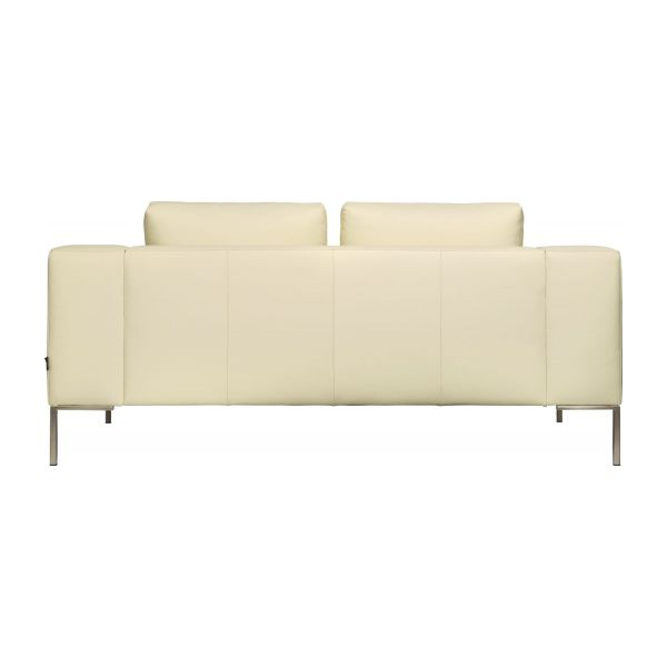 2 seater sofa in Eton veined leather, cream n°4