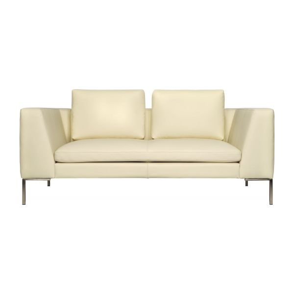 2 seater sofa in Eton veined leather, cream n°2