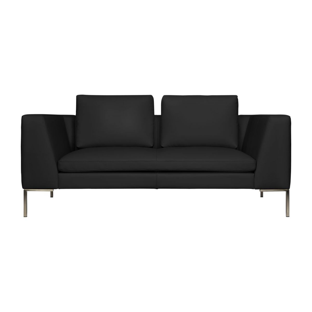 2 seater sofa in Eton veined leather, black n°3
