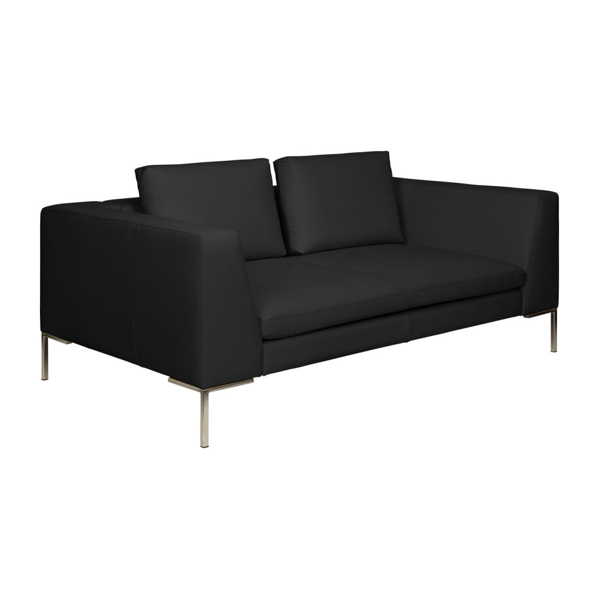 2 seater sofa in Eton veined leather, black n°1
