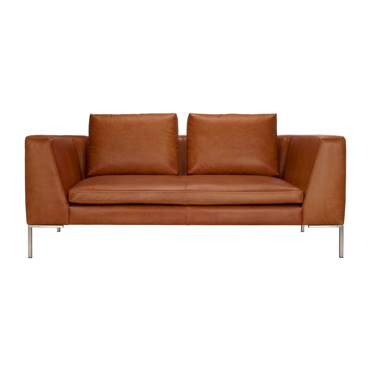 2 seater sofa in Vintage aniline leather, old chestnut n°4
