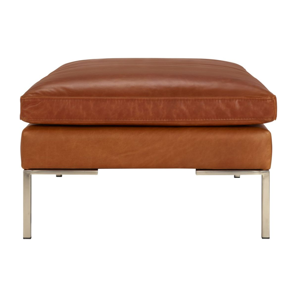 Footstool in Vintage aniline leather, old chestnut n°4