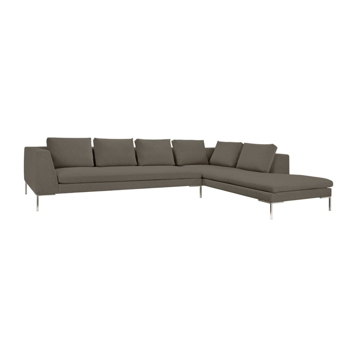 3 Seater Sofa With Chaise Longue On The Right In Ancio Fabric River Rock N