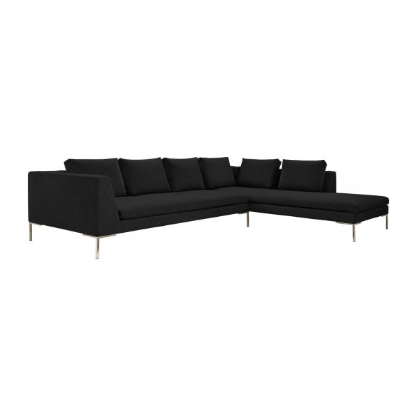 montino canap 3 places en tissu ancio nero avec m ridienne droite habitat. Black Bedroom Furniture Sets. Home Design Ideas