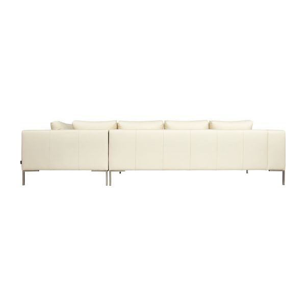 Montino canap 3 places en cuir nervur eton cream avec for Canape meridienne 5 places