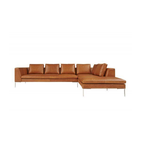 Montino canap 3 places en cuir aniline vintage leather old chestnut avec m - Canape meridienne 2 places ...