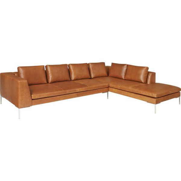 Montino canap 3 places en cuir aniline vintage leather for Canape 3 places meridienne