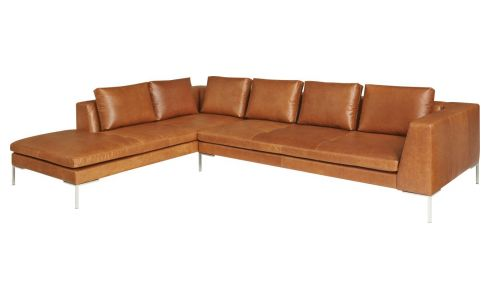 3-Sitzer Sofa aus Anilinleder Vintage Leather old chestnut mit Chaiselongue links