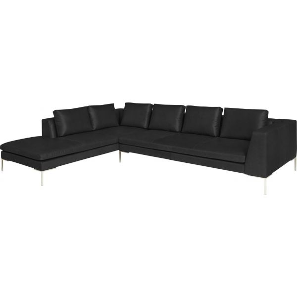 Montino canap 3 places en cuir aniline pullman soft black for Canape 3 places avec meridienne
