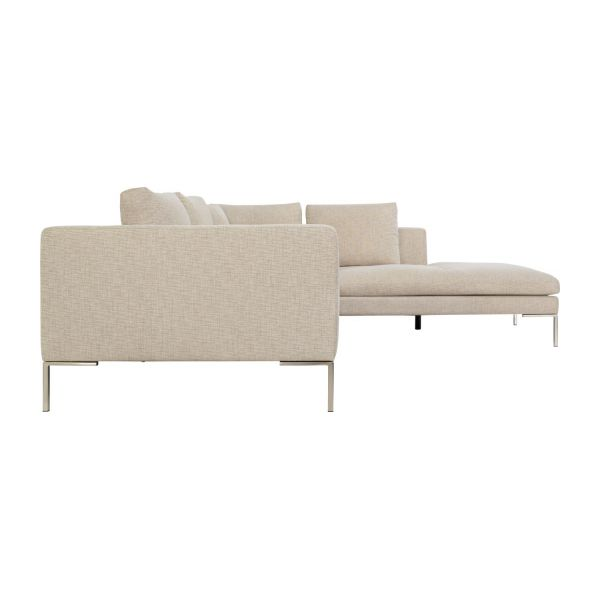 Montino canap 2 places en tissu ancio nature avec for Canape 1 place meridienne