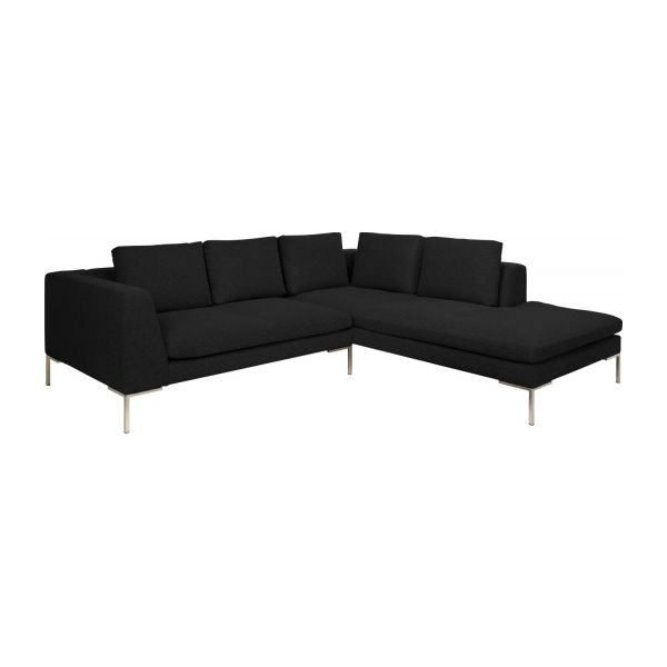 Montino - Sofá de tela negro jaspeado de 2 plazas con chaiselongue on table sofa, bookcase sofa, fabric sofa, couch sofa, settee sofa, pillow sofa, glider sofa, lounge sofa, beds sofa, bench sofa, futon sofa, recliner sofa, ottoman sofa, bedroom sofa, chair sofa, divan sofa, art sofa, cushions sofa, storage sofa, mattress sofa,
