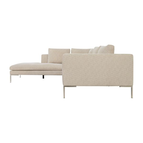 Montino canap 2 places en tissu ancio nature avec for Canape meridienne 5 places