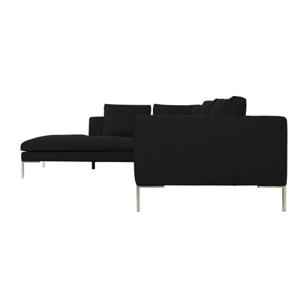 Montino canap 2 places en tissu ancio nero avec for Canape meridienne 5 places