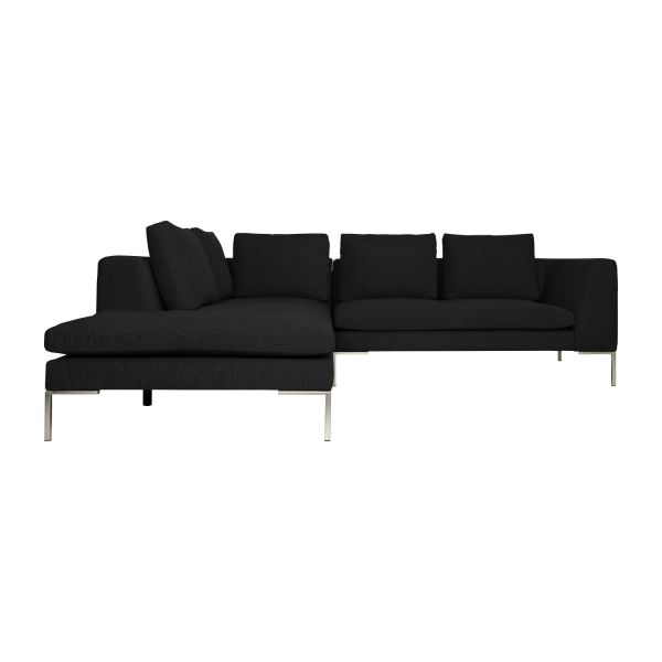 Montino canap 2 places en tissu ancio nero avec for Canape meridienne 2 places