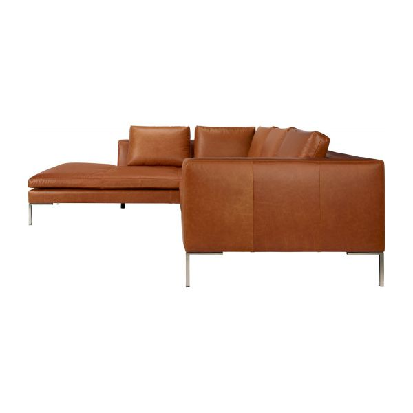 Montino canap 2 places en cuir aniline marron avec for Canape 2 places avec meridienne