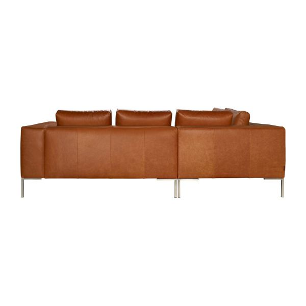 Montino canap 2 places en cuir aniline vintage leather old chestnut avec m - Canape meridienne 2 places ...