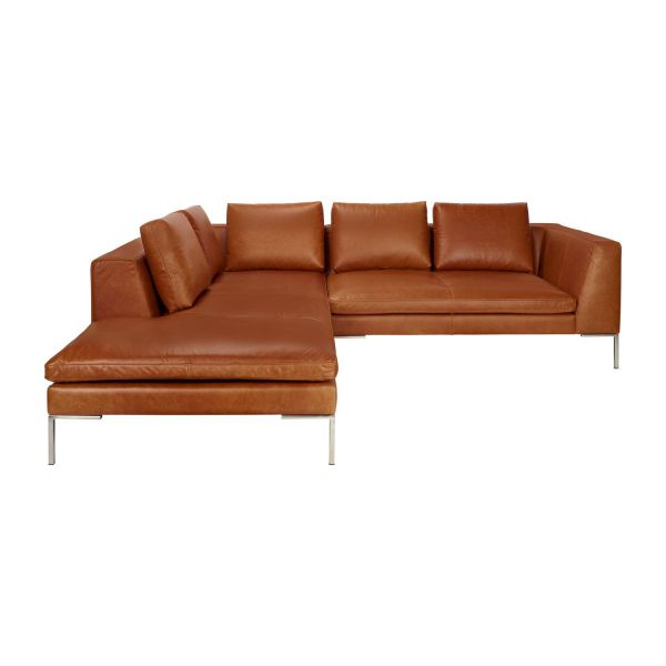 montino canap 233 2 places en cuir aniline vintage leather chestnut avec m 233 ridienne gauche