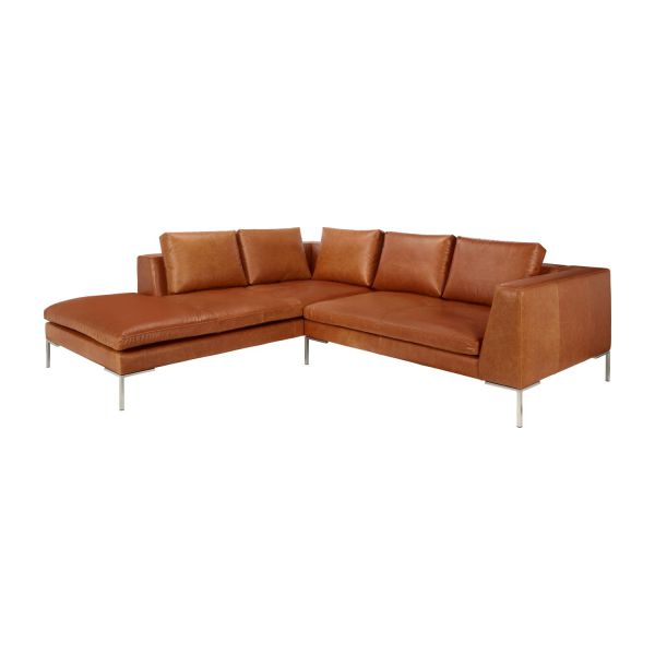 Montino canap 2 places en cuir aniline vintage leather for Canape 2 places avec meridienne