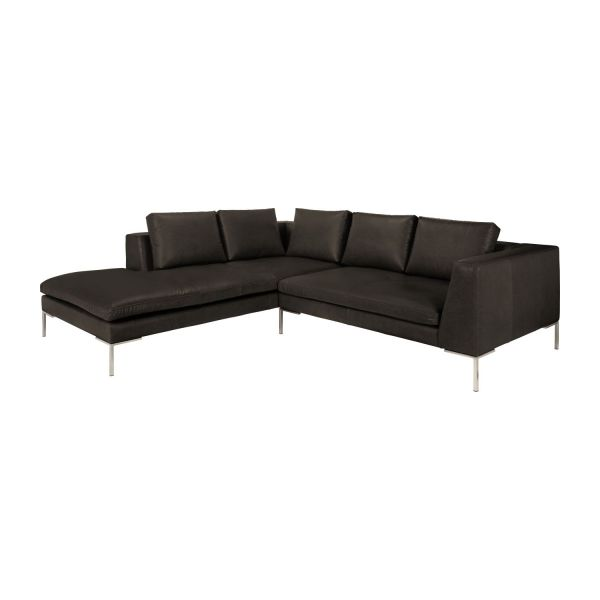 Montino sof 2 plazas en piel con chaise longue for Sofa piel chaise longue