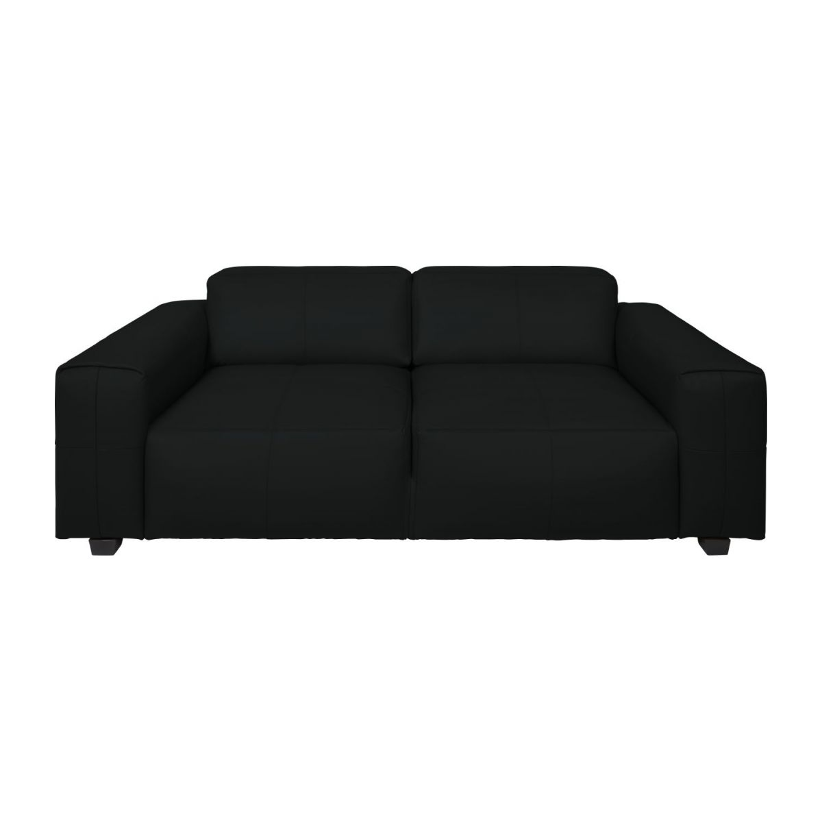 4 seater sofa in Savoy semi-aniline leather, platin black n°3