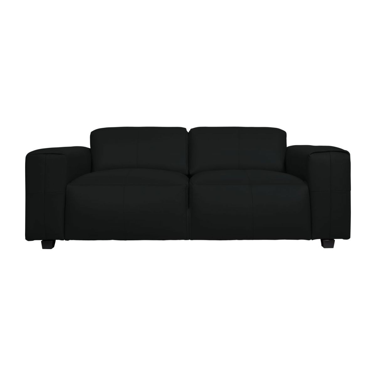 4 seater sofa in Savoy semi-aniline leather, platin black n°4