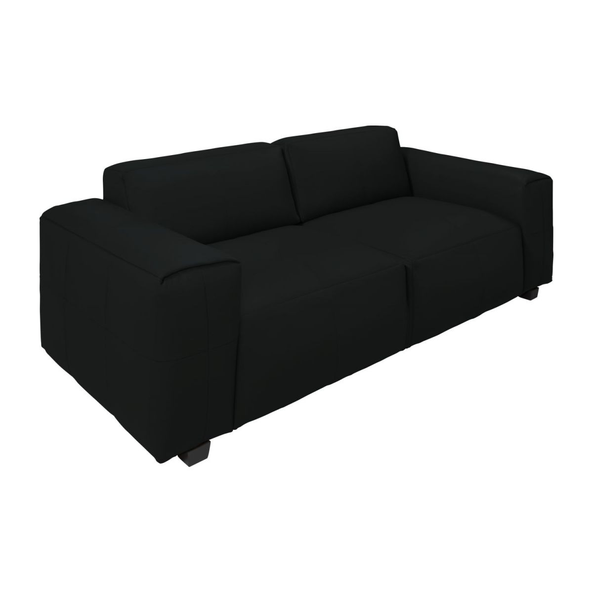 4 seater sofa in Savoy semi-aniline leather, platin black n°1