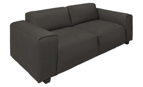 4 seater sofa in Savoy semi-aniline leather, dark brown amaretto