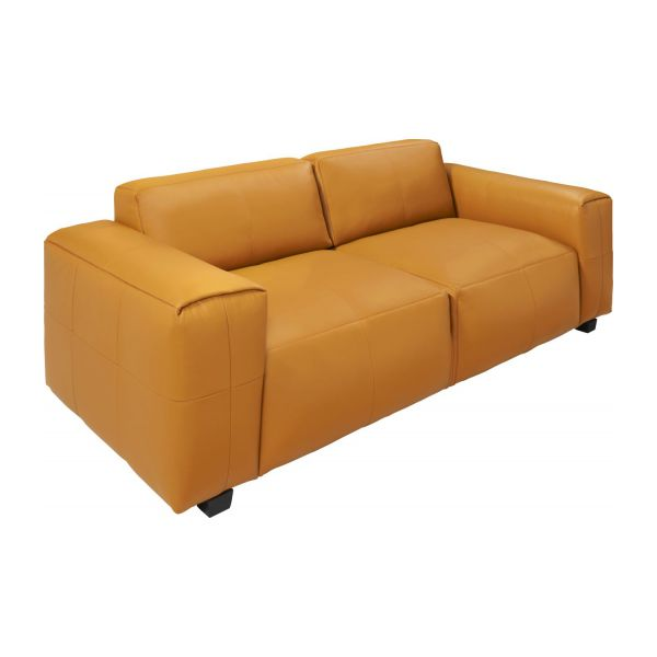 Merveilleux 4 Seater Sofa In Savoy Semi Aniline Leather, Cognac N°1
