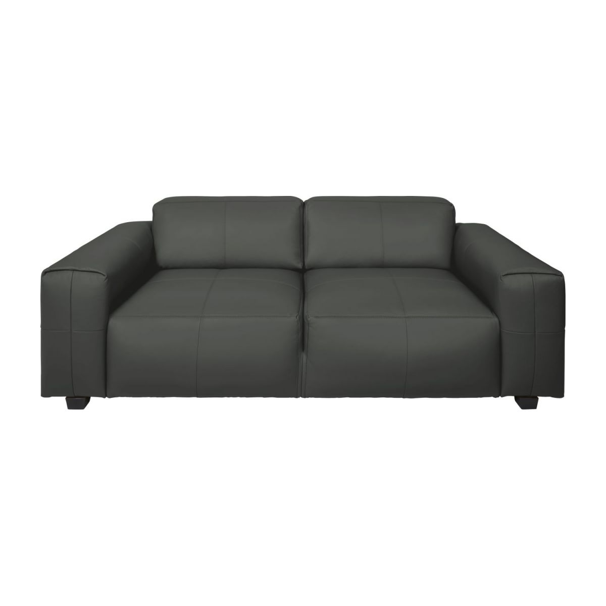 4 seater sofa in Savoy semi-aniline leather, grey n°2