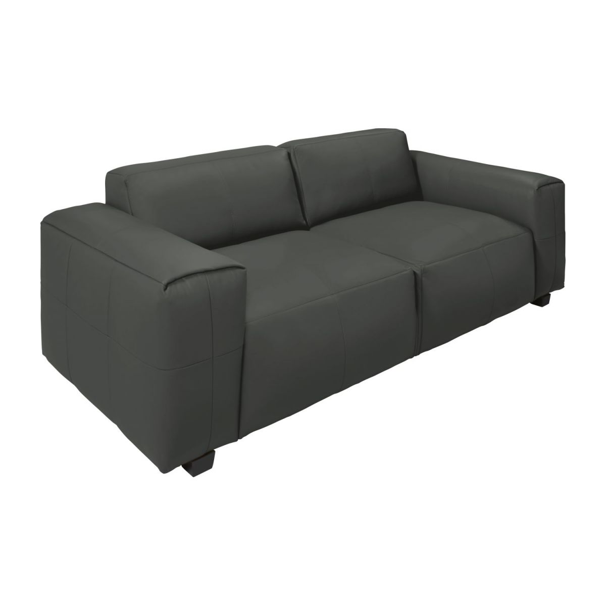 4 seater sofa in Savoy semi-aniline leather, grey n°1