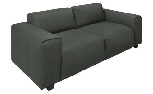 4 seater sofa in Savoy semi-aniline leather, grey