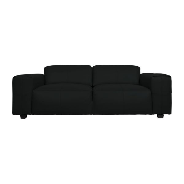 Eckcouch taupe  Posada - 3 seater sofa in Savoy semi-aniline leather, platin black ...